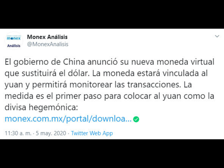 Lanza China moneda virtual
